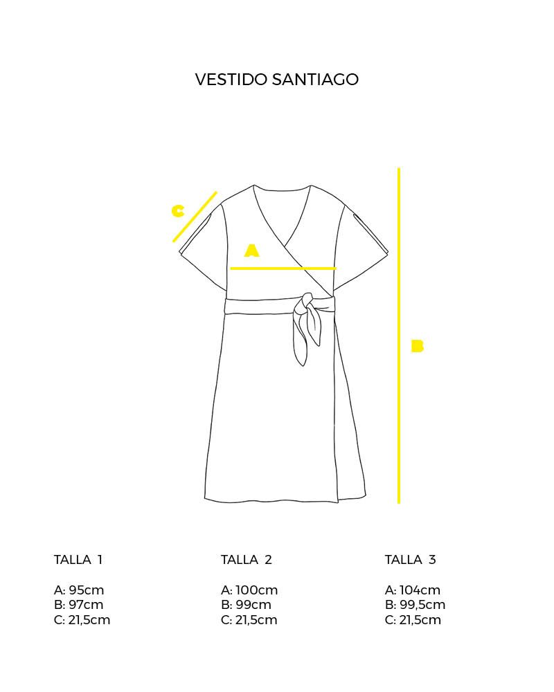 guía de tallas vestido cruzado Santiago peSeta.